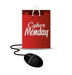 Cyber monday mouse bag design vector