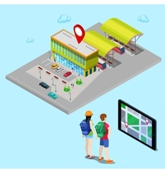 Mobile Navigation on Tablet Isometric City vector image vector image