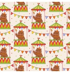 Seamless circus background with bears vector
