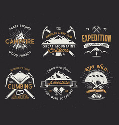 set of mountain climbing labels mountains vector image