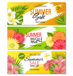 set of summer sale banner templates with with vector image