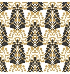 Stylized damask leaf or feather seamless pattern vector image