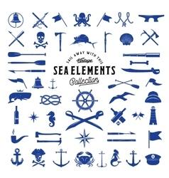 Vintage sea or nautical icon elements set vector