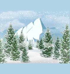 winter mountains landscape vector image