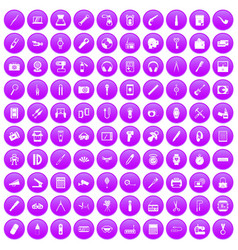 100 portable icons set purple vector