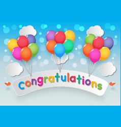 congratulations balloons sky background vector image