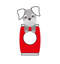 cute dog mascot with bag food vector image