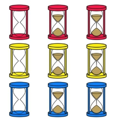 hourglass icons set in 3 colors vector image vector image
