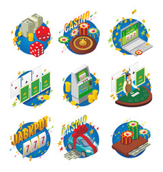 isometric casino composition vector image vector image