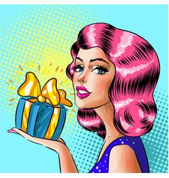 retro pop art woman holding gift box vector image vector image