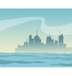 silhouette panorama city and river background vector image