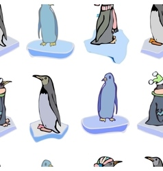 The penguins on ice floes pattern vector image