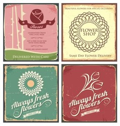 Vintage set of metal tin signs for flower shop vector image vector image