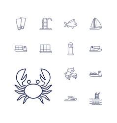 13 sea icons vector