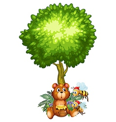 A bear and bees under the tree vector image