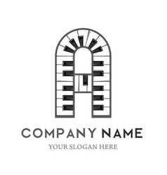 A letter logo design piano keyboard logo vector