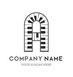 a letter logo design piano keyboard logo vector image