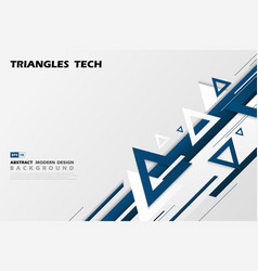 abstract gradient blue triangles tech overlap vector image