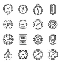 Barometer control icons set outline style vector