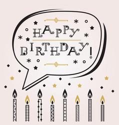 black golden speech bubble happy birthday candles vector image