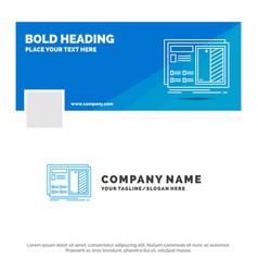 blue business logo template for blueprint design vector image