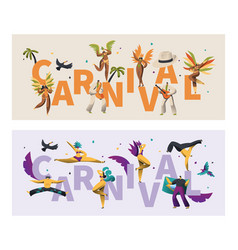 brazil feather costume carnival typography banner vector image