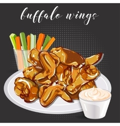 Buffalo wings celery with carrot and blue cheese vector image