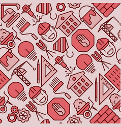 Building construction seamless pattern vector