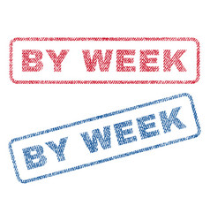 by week textile stamps vector image