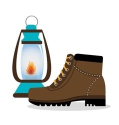 Camping boots shoes with lamp isolated icon design vector