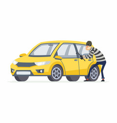 Car thief - cartoon people characters vector