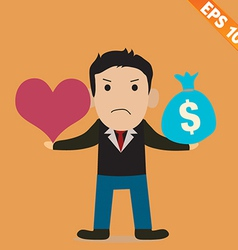 Cartoon Businessman with love and money vector image