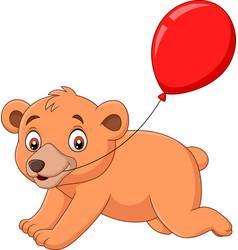 cartoon little bear with a red balloon vector image