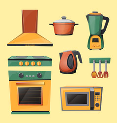 cartoon set of household kitchen appliances vector image