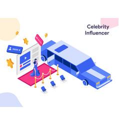 Celebrity influencer isometric modern flat vector