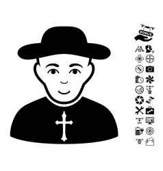 Christian Priest Icon With Air Drone Tools Bonus vector image
