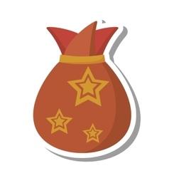 Christmas gift bag isolated icon vector