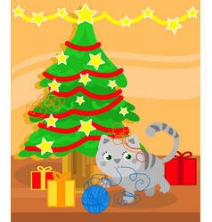 Christmas tree and cute kitty cat vector