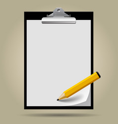 classic black clipboard with paper blank and vector image