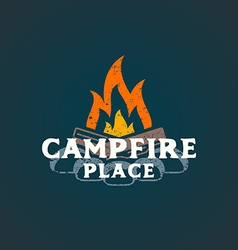 Color campfire place sign template vector