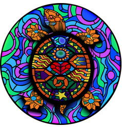 colorful mesoamerican turtle for uv tattoo design vector image
