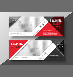 Corporate business banner in red geometric style vector