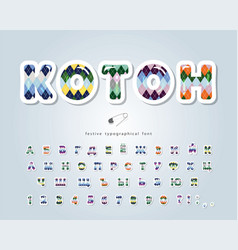 Cotton argyle font textile cyrillic alphabet vector