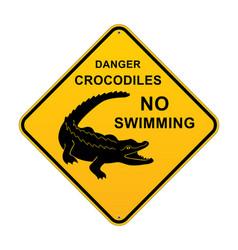 Danger crocodiles no swimming aussie sign vector