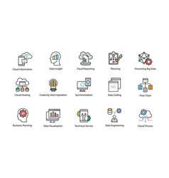 data science colored icons set vector image