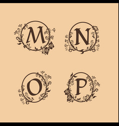 decoration letter m n o p logo design concept vector image