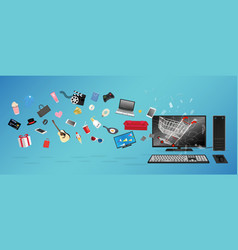 desktop computer online shopping vector image