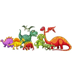 Different type of dinosaurs in group vector image