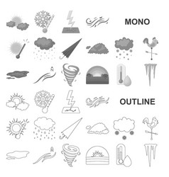 Different weather monochrom icons in set vector