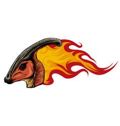 Dinosaurus parasaurolophus head art vector